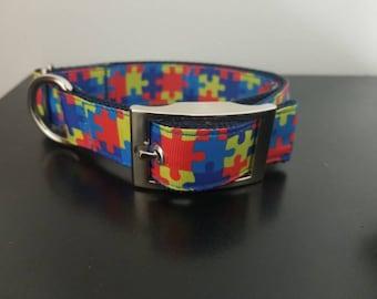 """1"""" Autism Awareness Puzzle Piece Dog Collar"""