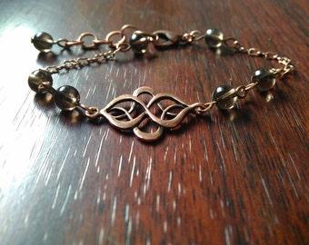 Infinity bracelet & smoky quartz beads