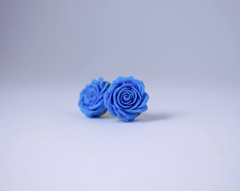Rose Earrings; Soft Blue