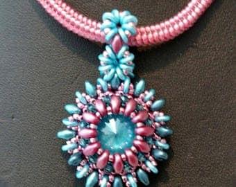 Handmade Lotus Flower Pendant with Herringbone Chain