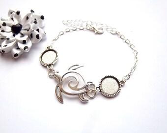 Support cabochon 12mm bracelet, tribal turtle