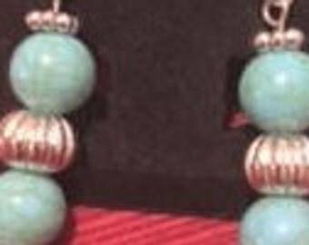 Green Turquoise (arcylic) Drop Earrings
