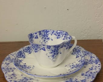 Vintage Shelley Cup & Saucer and Plate Dainty Blue