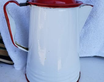 Antique Red and White Pitcher with Lid