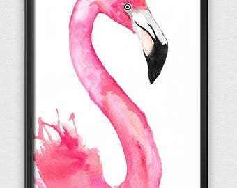 Flamingo Watercolour Painting Giclee Print A4