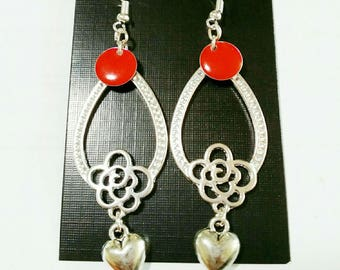 """Earrings """"jewel forever"""" form chandelier silver and Red"""
