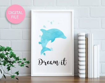 Dolphin watercolor painting printable art, Dolphin art, Watercolor painting, Watercolor art, Home decor wall art, Dolphin art, Animal art