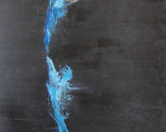 Moose oil painting abstract blue and black, vertical