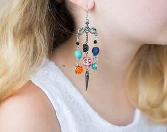 Skulls & Roses Chandelier Earrings