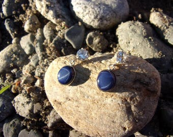 Earrings silver and gemstones (Sapphire stars)