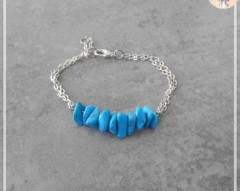 Trendy blue/turquoise stone bracelet
