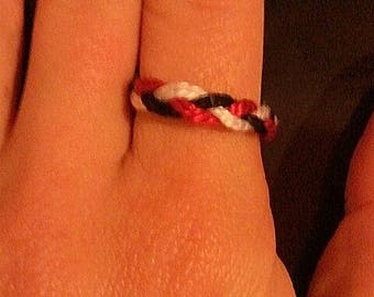 Flat black, white and Red braided ring