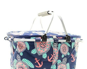 Preppy Sea Turtle Insulated Market Basket