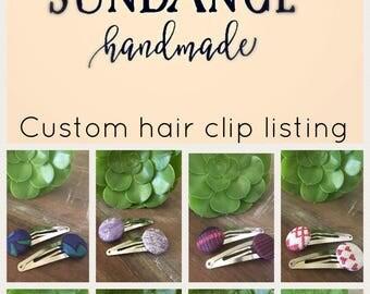 Custom hair clip listing