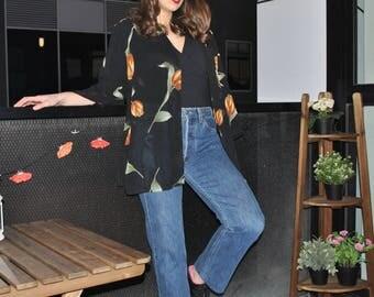 VINTAGE floral sheer open blouse