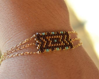 Miyuki stainless bracelet, brown, gold plated and turquoise blue 11/0 glass beads, gold filled chains, ethnic boho spirit