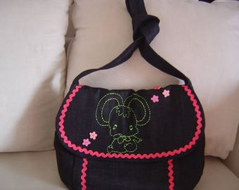 Embroidered pink and black bag