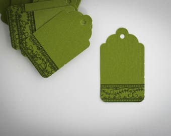 10 labels Tags green and black (floral pattern on the edge)