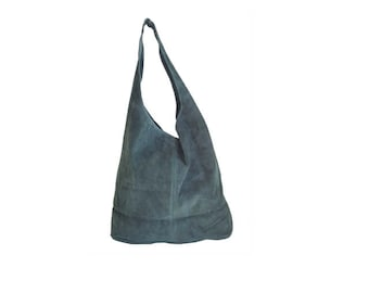 Shopping bag for woman, green suede leather