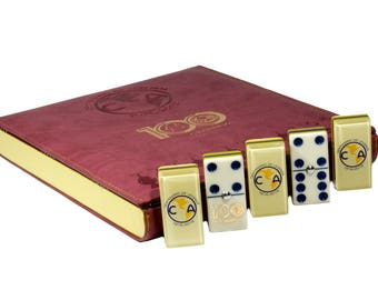 Aguilas Club America 100 Years Jumbo Domino Double Six, 5 Coats 100% Acrylic. Faux Leather Case - Limited Edition