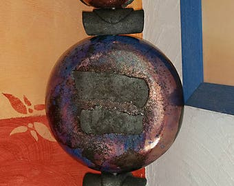 NEW... Beautiful TOTEM RAKU blue hard and effects, purple, copper and turquoise