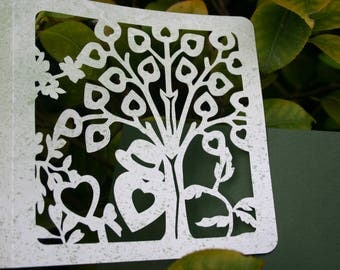 Card - cut leaves-hearts on a tree-love hearts, any occasion