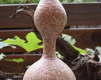 Eggshell mosaic on natural gourd