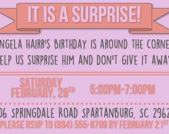 Surprise Birthday Invitation, Customizable, Digital or Printed