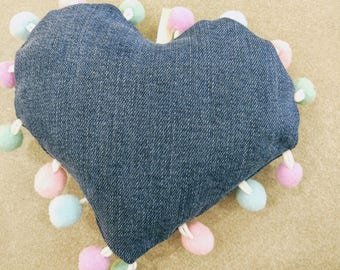 Denim heart  with colored pompon