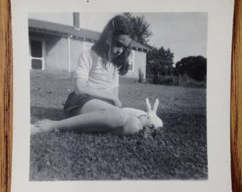 Vintage Photo - Young Girl Photo - Girl and Bunny - Vintage Snapshot - Black and White Photo - 1950s Photo - Little Girl- 1950s Fashion