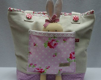 Kids and mini tote bag with bunny