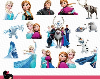 Frozen, Frozen Disney, Frozen Clip art, frozen clipart digital, snow clipart, 15 items, Elsa and Anna, digital graphic, VC-005