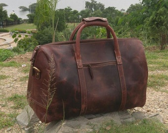 Leather Duffel Bag,  Leather weekend bag, Overnight bag, Travel Bag, Cabin Bag, Duffle Bag, Leather Bag