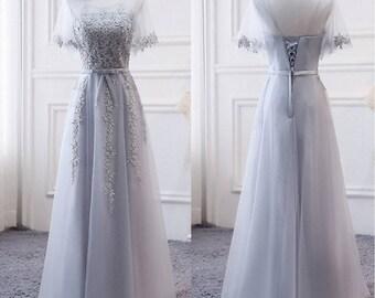 Grey Bridesmaid Lace Dress, Grey Bridesmaid Dress, Lace Bridesmaid Dress, Long Dress, Short Sleeve, Custom Size, Prom Dress, Full Length