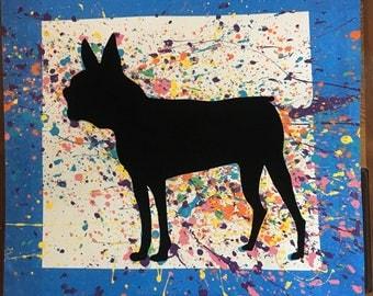 Boston Terrier Dog Splatter Paint Silhouette - Dog Paintings