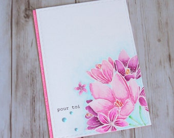 Handmade card pattern for occasions diversaires sparkling flower bouquet
