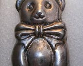 Cute Vintage Puffed Sterling Bear Pendant-Pin weight 18.7g marked:.925 ET3792