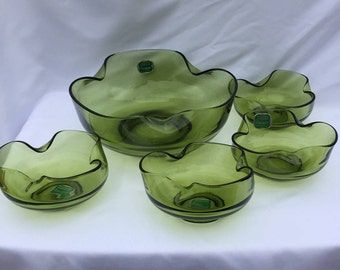 Vintage Anchor Hocking Avocado Modern Accent Salad Bowl - 5 pc Set NEW!