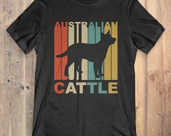 Australian Cattle Dog T-Shirt Gift: Vintage Style Australian Cattle Silhouette