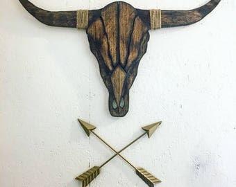 Wooden Longhorn Skull