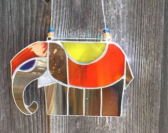 Stained glass elephant, Stained glass suncatcher, Originals stainedglass, Stained glass art, Housewarming gift, Unique gift, Home decor