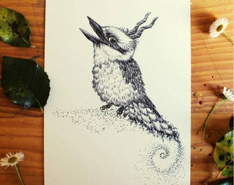 Laughing Kookaburra - Original Bird Illustration Artwork - Australian Animals - art - drawing