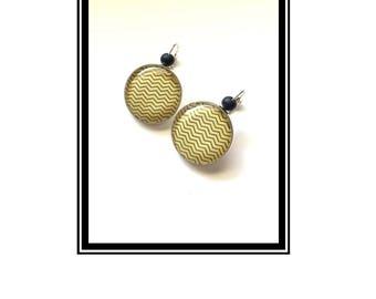 "Original & unique earrings ""Black ' n Gold"" black gold Love Black Gold heart heart"