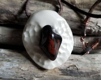 Porcelain and Mahogany Obsidian Pendant / Handmade Jewelry, Porcelain Jewelry, Ceramic Jewelry, Gemstone Jewelry