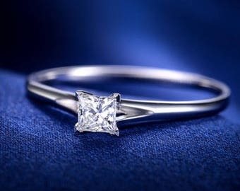 Princess Moissanite Engagement Ring 14k White Gold Solitaire Forever One Moissanite Ring Diamond Engagement Ring Art Deco Anniversary Ring