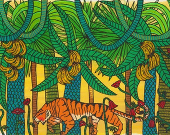 Original Painting Approaching Tiger Feline Wildlife Big Cat