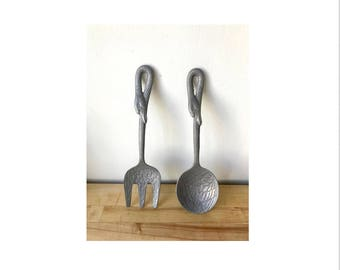 Vintage Pewter Goose Salad Servings Utensils