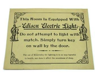 1973 Edison Electric Light Sign.  Ephemera collectible