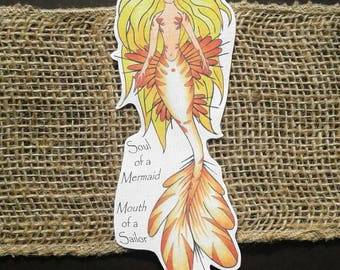 Soul of a Mermaid Mouth of a Sailor Printed Bookmark
