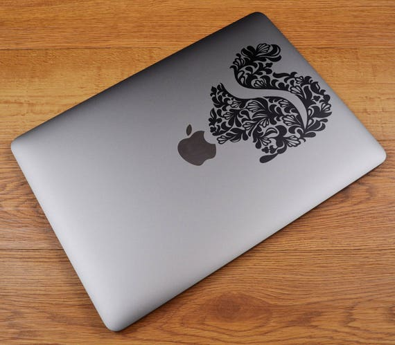 Floral Stylized Squirrel for Macbooks and other Laptops, Vinyl Sticker Skin, Beautiful Floral Designs, Epic Decals, mac